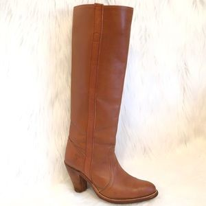 Frye leather tall pull on heeled boots brown 6.5